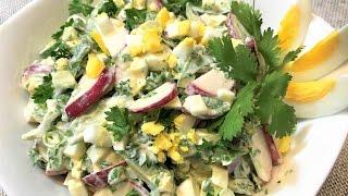 Салат с редисом (редиской) ТРАДИЦИОННЫЙ  для начинающих. Radish Salad.