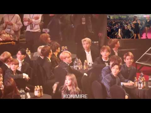 170119 EXO & BTS reaction to MAMAMOO You're The Best + Décalcomanie @ Seoul Music Awards