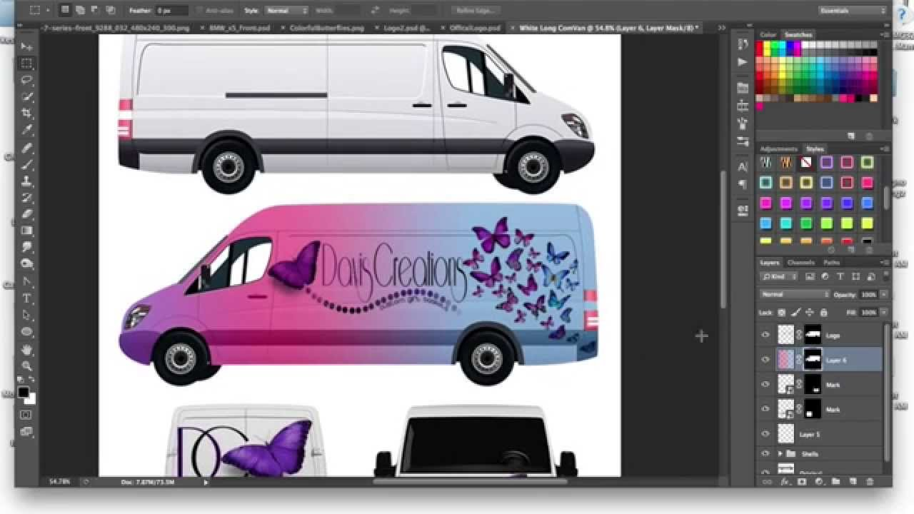 how to make a commercial cargo van car wrap mockup tutorial using adobe photoshop youtube