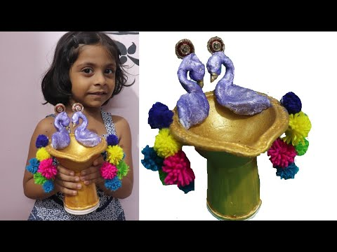 Peacock diya | Diya Decoration Ideas | Easy Diya Decoration | Diwali Craft Ideas | DIY by pooja bera