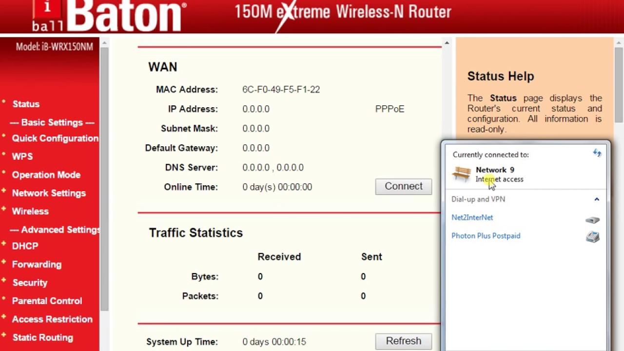 iBall Baton 150M Wireless-N+Router (Modem + Wifi) Configuration    How to  Settings iBall Baton