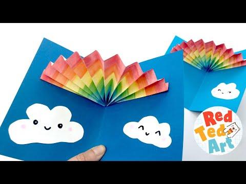 Easy Rainbow Pop Up Card – Learn how to make easy 3d Cards for Kids – 3d Rainbow