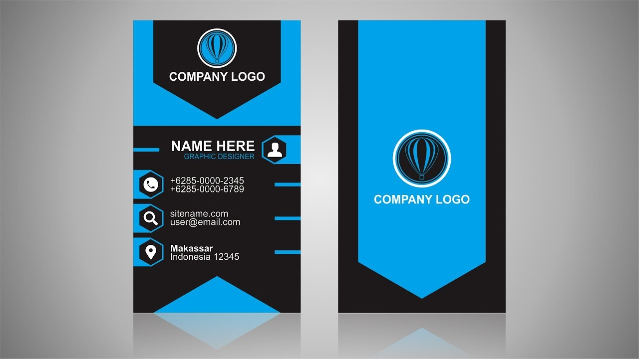 Vertical business card design coreldraw tutorial youtube reheart Images