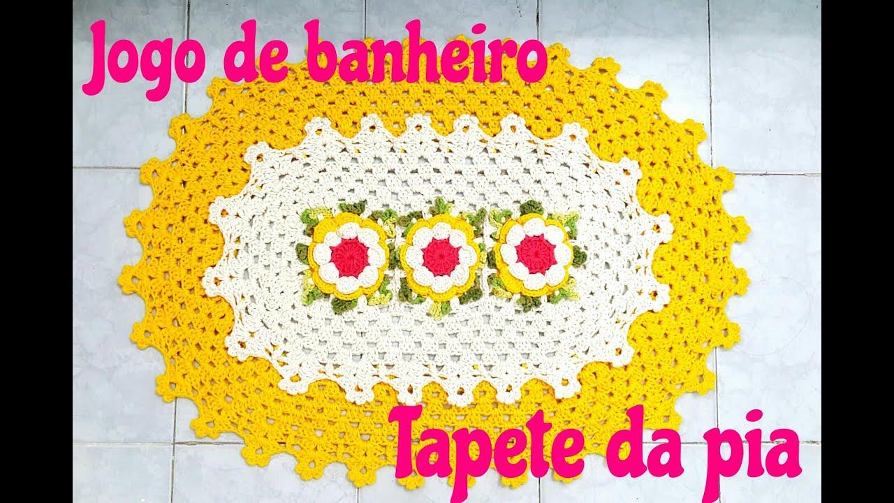 Jogo de banheiro em crochê com barrado duplo Tapete da pia  #C70461 1825 1225