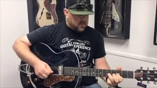 Ryan Folwler of Ryan Fowler's Guitar Experience demonstrates the new Godin 5th Ave Nightclub.