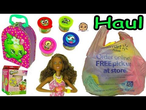Surprise Barbie Blind Bags, Shopkins Stampers, Scented Dough - Walmart Haul Video