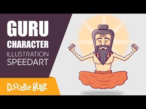 Creating character illustration in adobe illustrator | Hindu Guru Master | Speedart