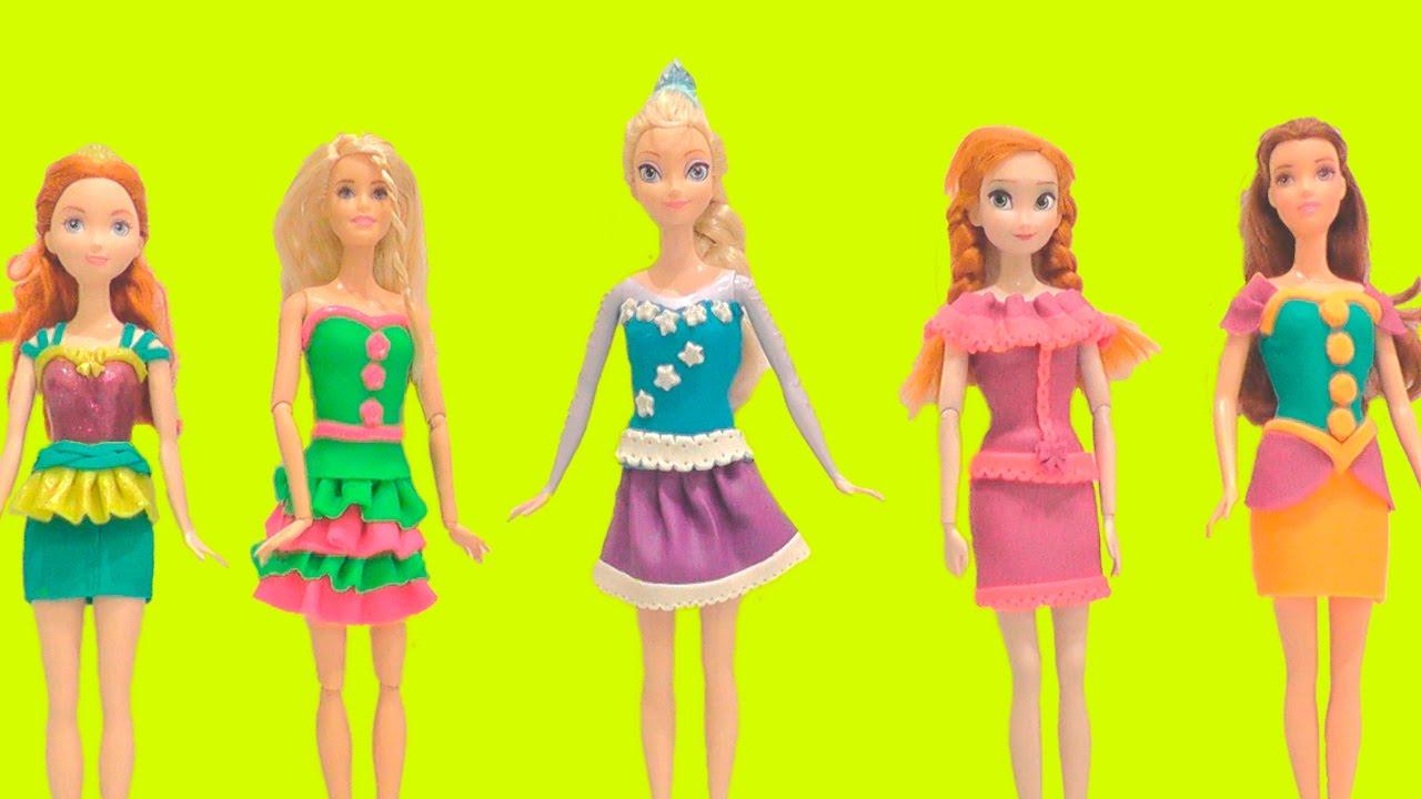 Лепка платьев для кукол из пластилина