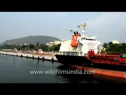 Petroleum ships, commercial vessels at Port of Visakhapatnam