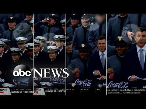 Investigan a cadetes estadounidenses por hacer señas supremacistas durante un acto con Trump