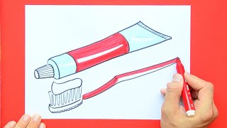 How to draw and color Toothpaste and Brush