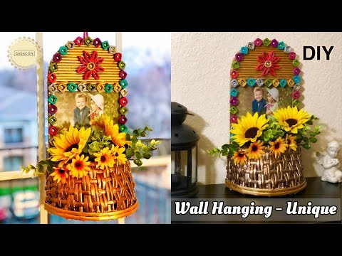 Newspaper Wall Hanging Craft Ideas | Photo Frame with Flower Basket | Newspaper Craft Ideas Easy