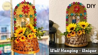 Newspaper Wall Hanging Craft Ideas   Photo Frame with Flower Basket   Newspaper Craft Ideas Easy
