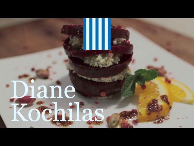 BEET NAPOLEON WITH SPICY FETA AND PISTACHIOS