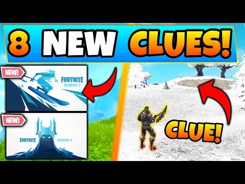 Fortnite SEASON 7 SKINS + SNOWY MAP Change?! - 8 Clues & Theories in Battle Royale's Next Update! thumbnail