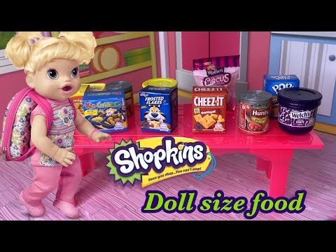 We found doll size food 😀 ALL NEW Shopkins Oh So Real Mini Packs Walmart exclusive Shopkins!