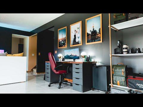 Modern Clean & Minimal Tech Home Office Studio Tour + Home Theater