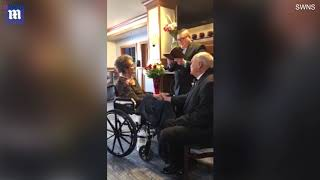Elderly couple ties the knot after 35 years together