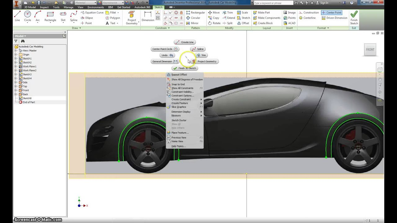 Basic design of a car - Autodesk Inventor Basic Car Modeling Part 2