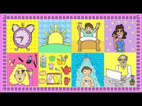 Deutsch lernen: Mein Tag / Tagesablauf - German for children and beginners: daily routine