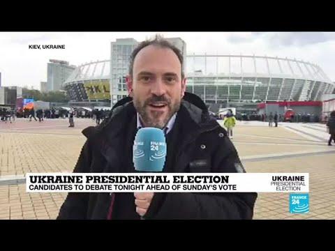 Comedian, incumbent set for 'unorthodox' Ukrainian presidential debate in football stadium
