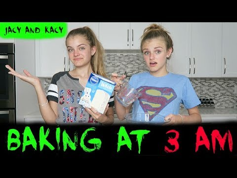 Thumbnail: Baking at 3 AM ~ Scary Challenge ~ Jacy and Kacy