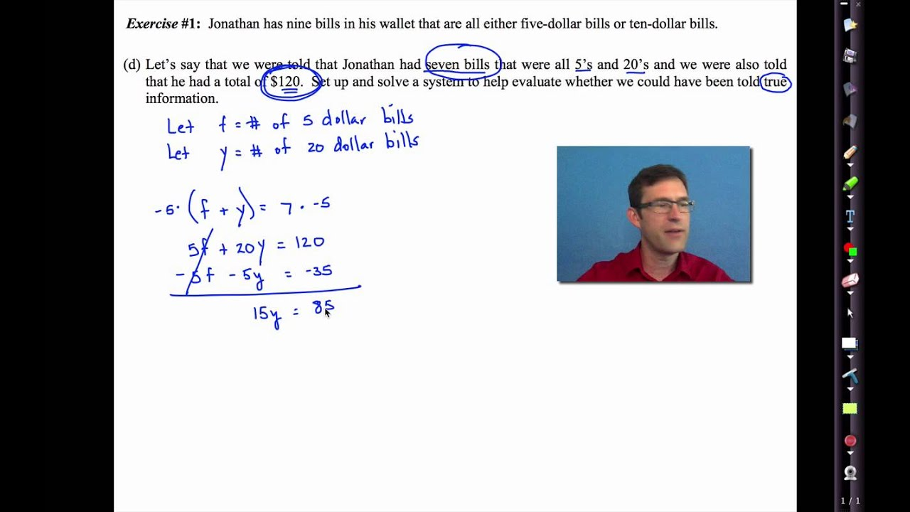 Common Core Algebra I Unit #5 Lesson #5 Modeling with Systems of Equations