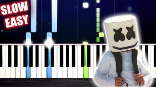 Marshmello - Alone - SLOW EASY Piano Tutorial by PlutaX Video