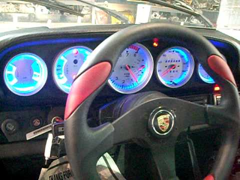 Custom Porsche Gauges, LED Conversion, Silver Face, VDO, Motor Meister