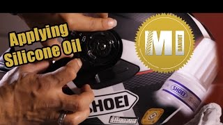How to Silicone Oil around the rubber visor gasket New Shoei helmet