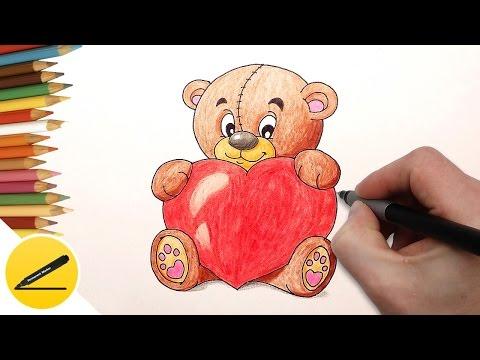 Как Нарисовать Мишку с Сердечком ❤ Рисуем картинки для Валентинки