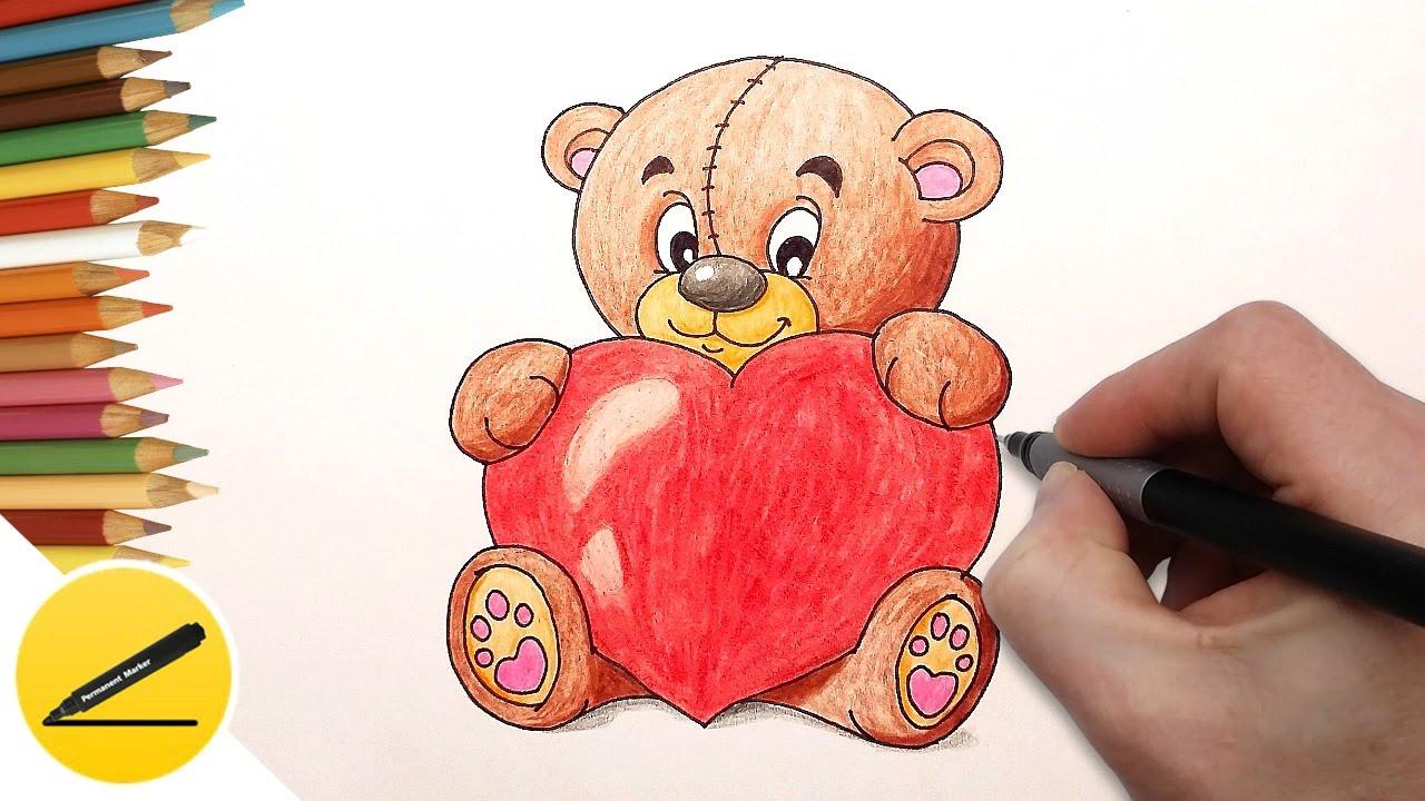 Как Нарисовать Мишку с Сердечком Рисуем картинки для ...