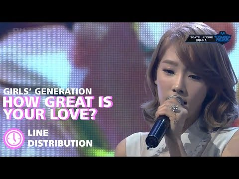 Girls' Generation(소녀시대) -  How Great Is Your Love? (봄날) : Line Distribution (Color Coded)