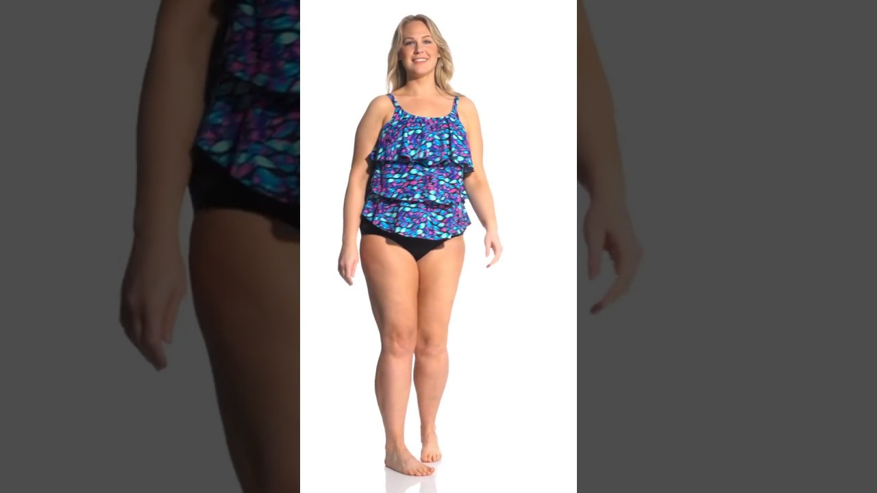 546dd4a8d Topanga Plus Size Kaleidoscope Mastectomy Triple Tier Tankini Top ...
