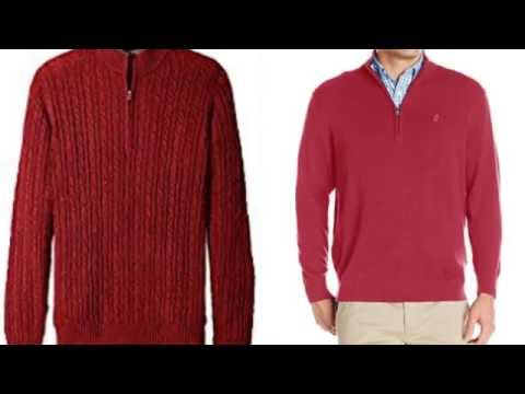 Red mens cable solid knit 1/4-Quarter zip sweater - YouTube