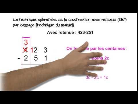 La technique op ratoire de la soustraction avec retenue par cassage youtube - Soustraction avec retenue cm1 ...