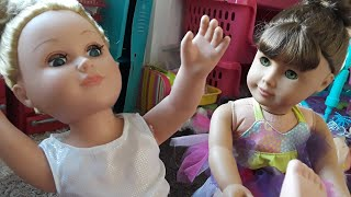 American Girl Dolls try to Ballet Dance and get Hurt! My Life as Doll Dance Class, Naughty Doll