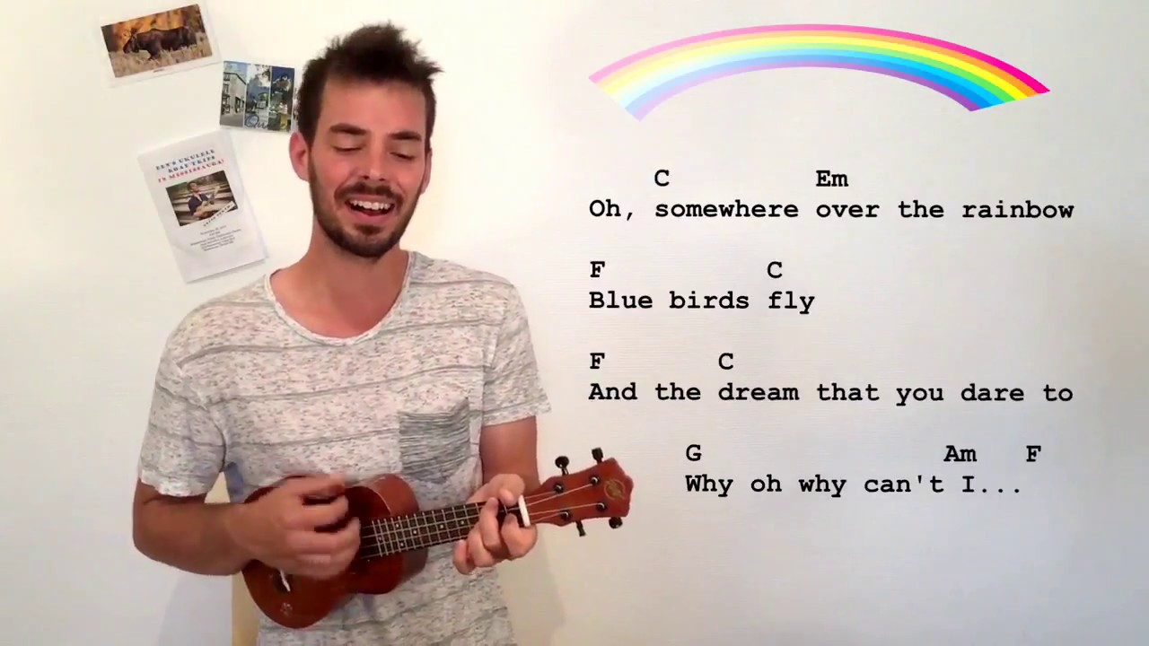 Somewhere Over The Rainbow Play Along Easy W Chords Lyrics Iz