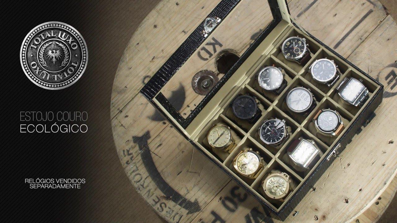 5820bf3d0 Caixa Guarda 9 Relógio 4 Óculos Organizador Estojo Couro Eco - R$ 119,99 em  Mercado Livre