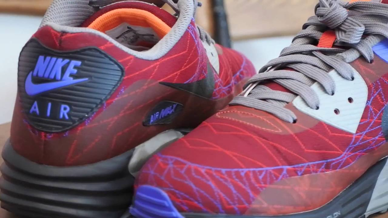 new product 7fd10 10c8b NIKE AIR MAX LUNAR 90 JCRD 654468-600 RED CLAY BLACK VIOLET FORCE