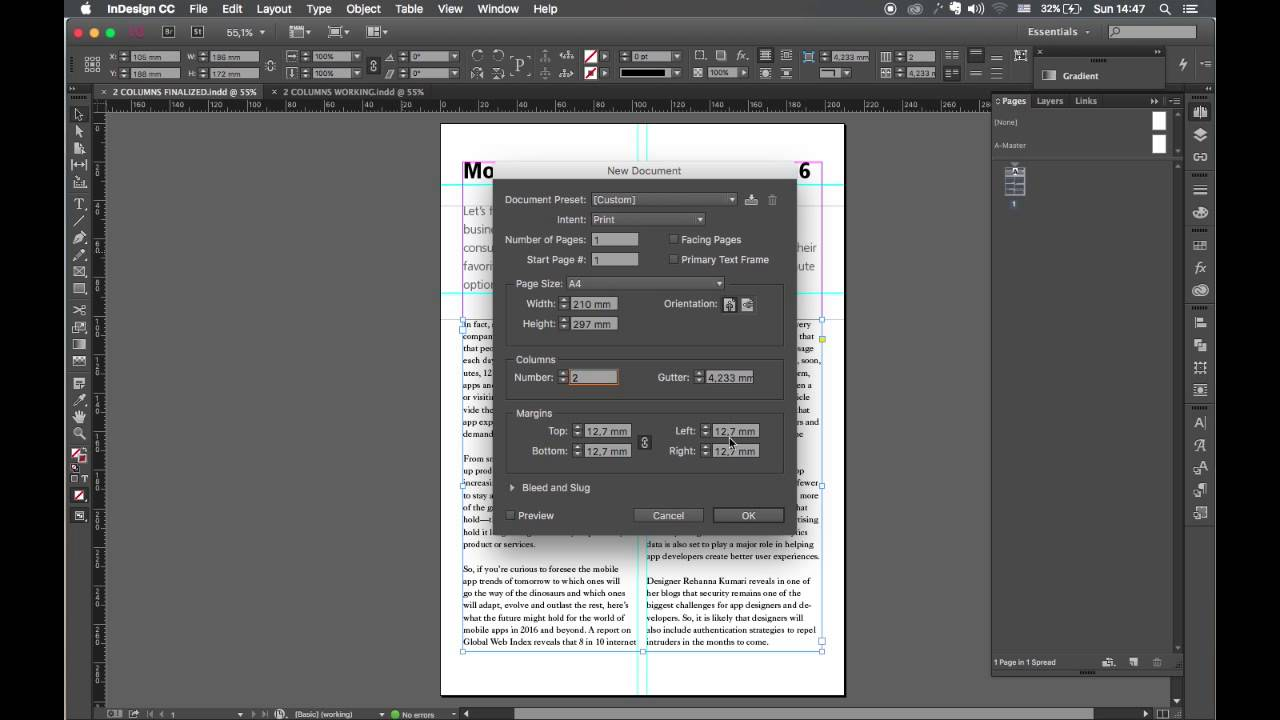 How to create a 23 columns text using ADOBE INDESIGN