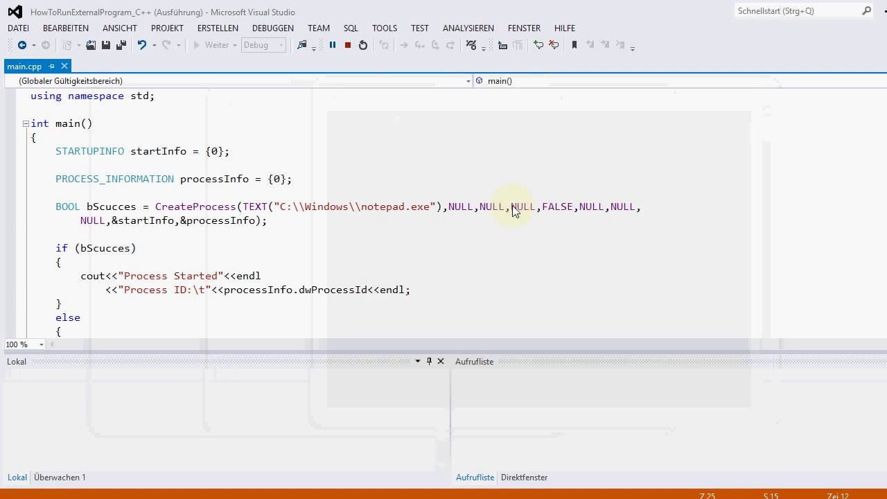 C++: How to run external application from a C++ program