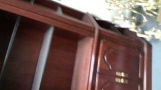 New Solid Cherry China Cabinet/armoire/ Bookcase/curio &24light Solid Brass Chandelier