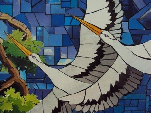 grullas mosaico en papel reutilizado youtube On herramientas para hacer un mosaico
