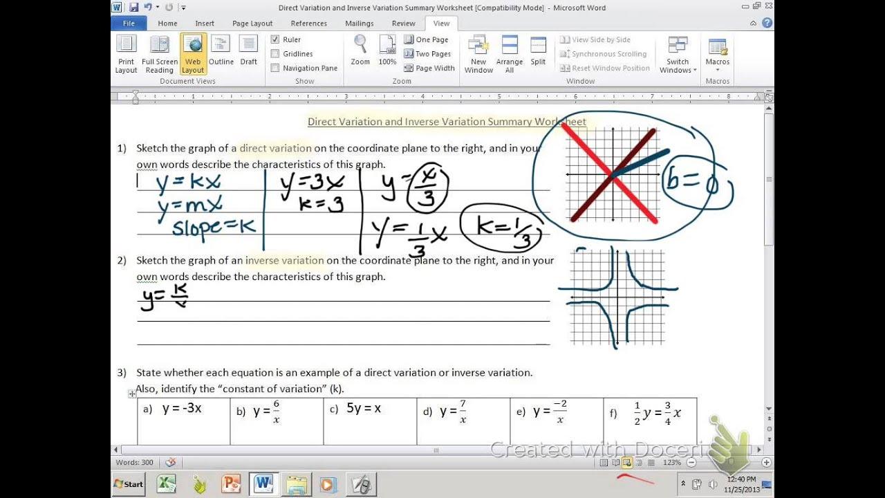 Direct Amp Inverse Variation Summary Worksheet Part 1