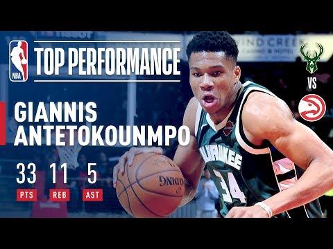 Giannis Antetokounmpo Continues Impressive Start Versus the Atlanta Hawks (33 pts, 11, rebs,  5 ast)