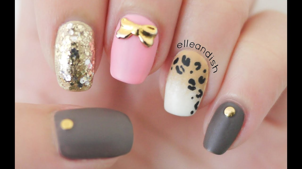 matte ombr leopard nails toothpick
