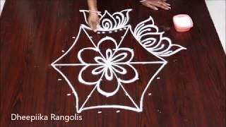 varalakshmi vratham muggulu with 7x4 dots * lotus kolam for friday * friday rangoli designs