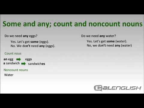 Some and any; count and noncount nouns - YouTube - count and noncount nouns esl